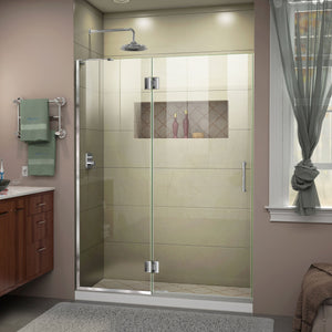 "DreamLine D32672L-01 Unidoor-X 50""W x 72""H Frameless Hinged Shower Door in Chrome"