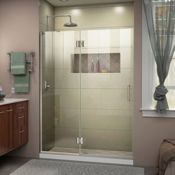 "DreamLine D32772L-04 Unidoor-X 51""W x 72""H Frameless Hinged Shower Door in Brushed Nickel"
