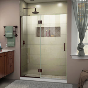 "DreamLine D32372L-06 Unidoor-X 47""W x 72""H Frameless Hinged Shower Door in Oil Rubbed Bronze"