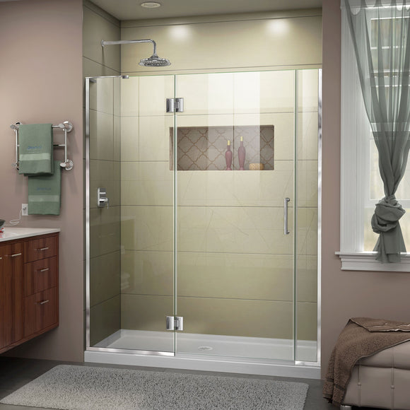 "DreamLine D32406572L-01 Unidoor-X 54 1/2-55""W x 72""H Frameless Hinged Shower Door in Chrome"