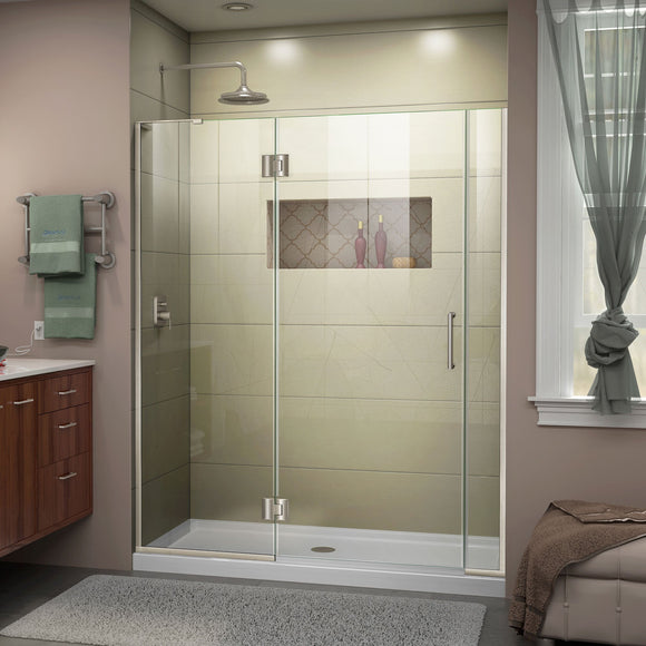"DreamLine D3250672L-04 Unidoor-X 55-55 1/2""W x 72""H Frameless Hinged Shower Door in Brushed Nickel"