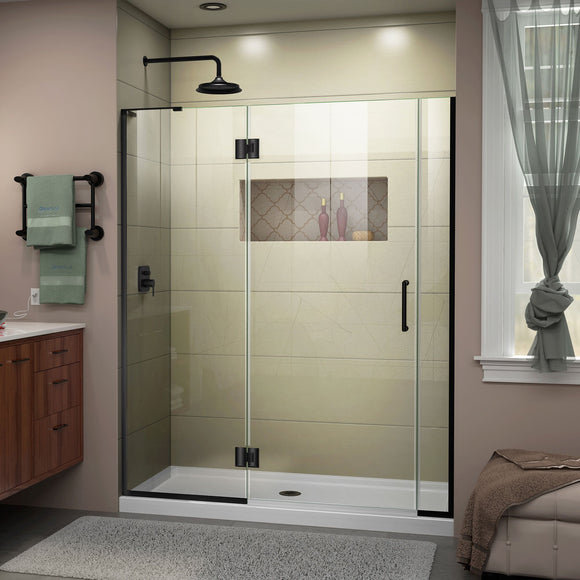 "DreamLine D32906572L-09 Unidoor-X 59 1/2-60""W x 72""H Frameless Hinged Shower Door in Satin Black"