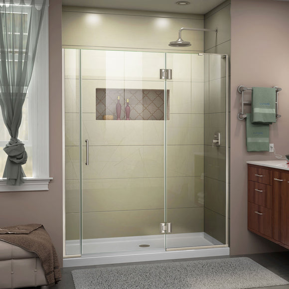 "DreamLine D3300672R-04 Unidoor-X 60-60 1/2""W x 72""H Frameless Hinged Shower Door in Brushed Nickel"