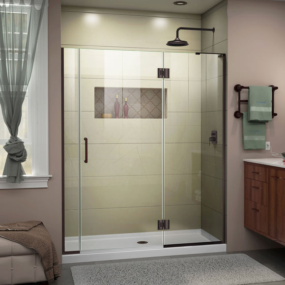 "DreamLine D3250672R-06 Unidoor-X 55-55 1/2""W x 72""H Frameless Hinged Shower Door in Oil Rubbed Bronze"