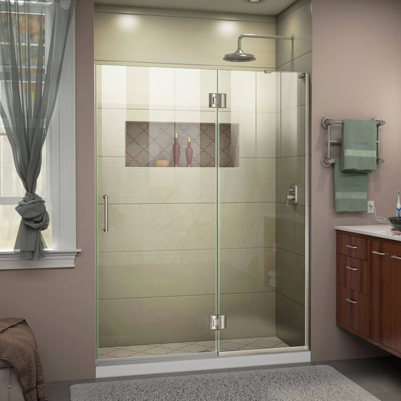 "DreamLine D32972R-04 Unidoor-X 53""W x 72""H Frameless Hinged Shower Door in Brushed Nickel"
