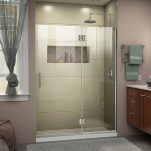 "DreamLine D32672R-04 Unidoor-X 50""W x 72""H Frameless Hinged Shower Door in Brushed Nickel"