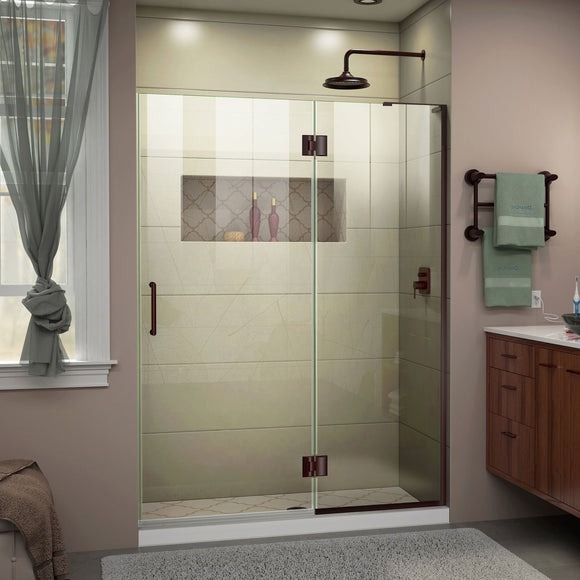 "DreamLine D32872R-06 Unidoor-X 52""W x 72""H Frameless Hinged Shower Door in Oil Rubbed Bronze"