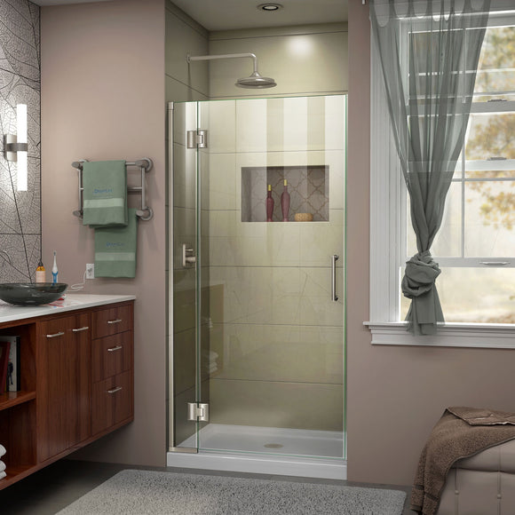 "DreamLine D12672-04 Unidoor-X 32""W x 72""H Frameless Hinged Shower Door in Brushed Nickel"