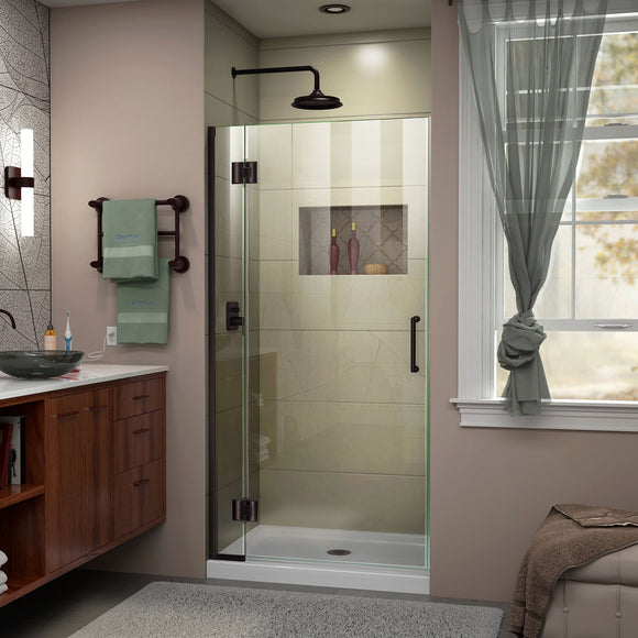 "DreamLine D12372-06 Unidoor-X 29""W x 72""H Frameless Hinged Shower Door in Oil Rubbed Bronze"