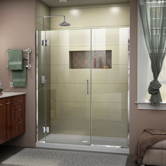 "DreamLine D1273072-01 Unidoor-X 63-63 1/2""W x 72""H Frameless Hinged Shower Door in Chrome"