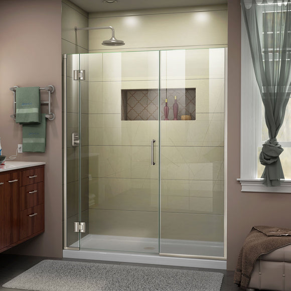 "DreamLine D12730572-04 Unidoor-X 63 1/2-64""W x 72""H Frameless Hinged Shower Door in Brushed Nickel"