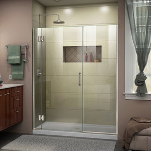 "DreamLine D1272272-04 Unidoor-X 55-55 1/2""W x 72""H Frameless Hinged Shower Door in Brushed Nickel"