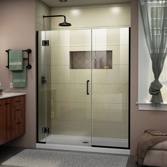 "DreamLine D1233072-09 Unidoor-X 59-59 1/2""W x 72""H Frameless Hinged Shower Door in Satin Black"