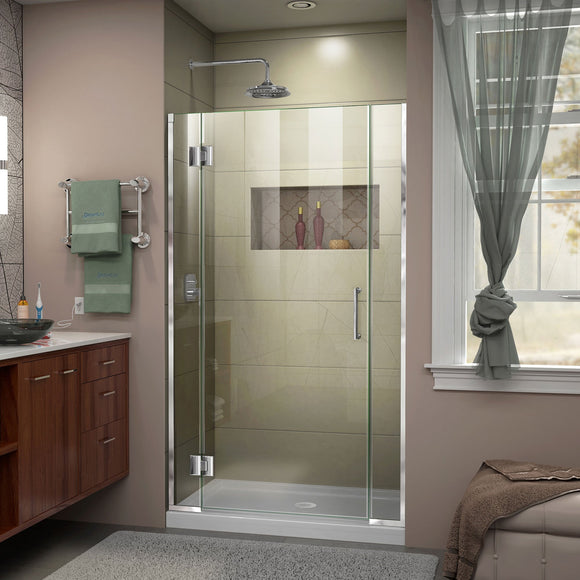 "DreamLine D12606572-01 Unidoor-X 38 1/2-39""W x 72""H Frameless Hinged Shower Door in Chrome"