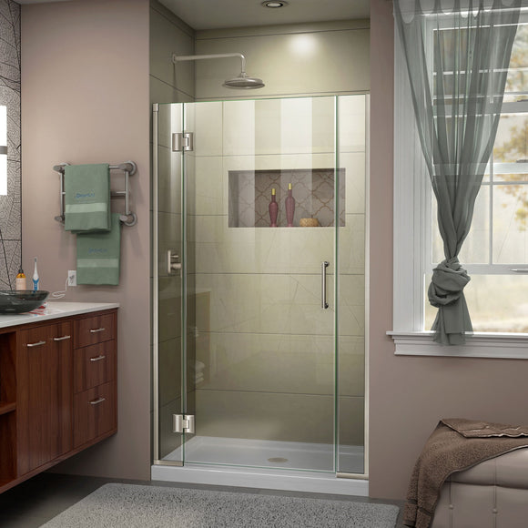 "DreamLine D12406572-04 Unidoor-X 36 1/2-37""W x 72""H Frameless Hinged Shower Door in Brushed Nickel"