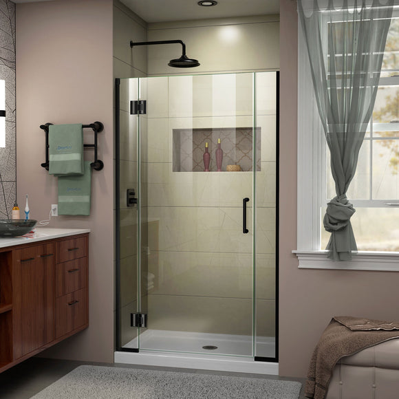 "DreamLine D12906572-09 Unidoor-X 41 1/2-42""W x 72""H Frameless Hinged Shower Door in Satin Black"