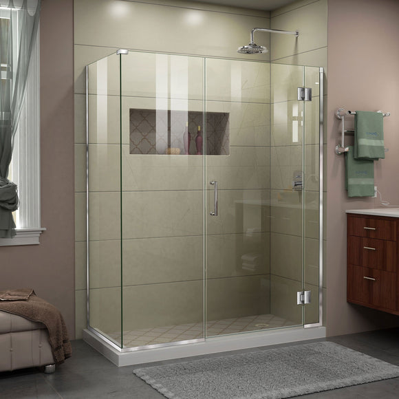 "DreamLine E12330534-01 Unidoor-X 59 1/2""W x 34 3/8""D x 72""H Frameless Hinged Shower Enclosure in Chrome"