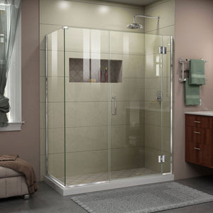 "DreamLine E1243030-01 Unidoor-X 60""W x 30 3/8""D x 72""H Frameless Hinged Shower Enclosure in Chrome"