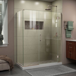 "DreamLine E12330534-04 Unidoor-X 59 1/2""W x 34 3/8""D x 72""H Frameless Hinged Shower Enclosure in Brushed Nickel"