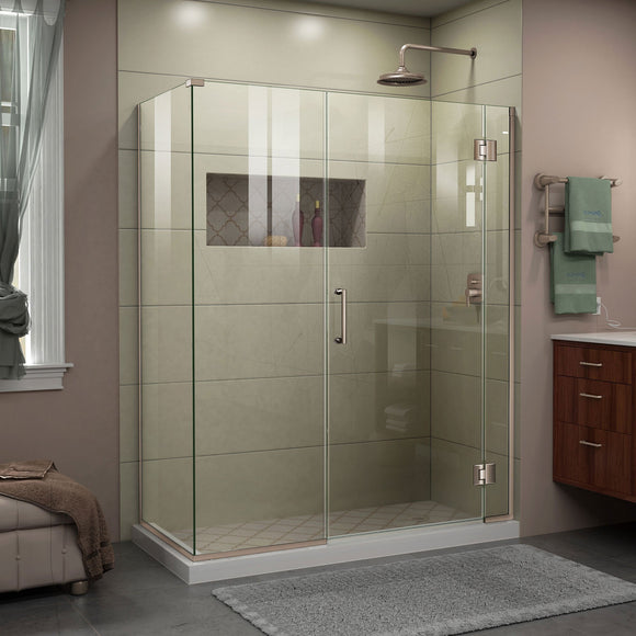 "DreamLine E1243034-04 Unidoor-X 60""W x 34 3/8""D x 72""H Frameless Hinged Shower Enclosure in Brushed Nickel"