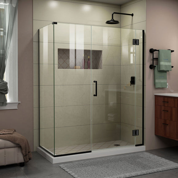 "DreamLine E1243034-09 Unidoor-X 60""W x 34 3/8""D x 72""H Frameless Hinged Shower Enclosure in Satin Black"