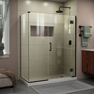 "DreamLine E1233030-09 Unidoor-X 59""W x 30 3/8""D x 72""H Frameless Hinged Shower Enclosure in Satin Black"