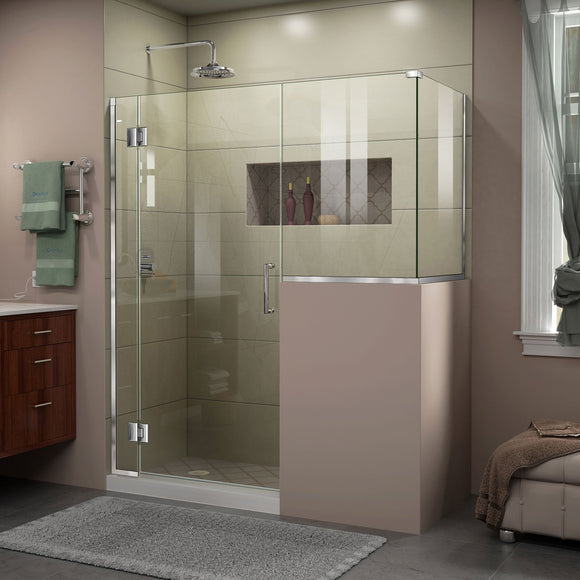 "DreamLine E127243430-01 Unidoor-X 57""W x 30 3/8""D x 72""H Frameless Hinged Shower Enclosure in Chrome"