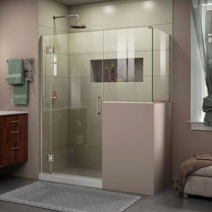 "DreamLine E124303436-04 Unidoor-X 60""W x 36 3/8""D x 72""H Frameless Hinged Shower Enclosure in Brushed Nickel"