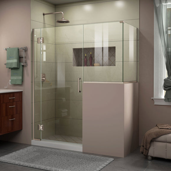 "DreamLine E123303430-04 Unidoor-X 59""W x 30 3/8""D x 72""H Frameless Hinged Shower Enclosure in Brushed Nickel"