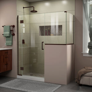 "DreamLine E128243436-06 Unidoor-X 58""W x 36 3/8""D x 72""H Frameless Hinged Shower Enclosure in Oil Rubbed Bronze"