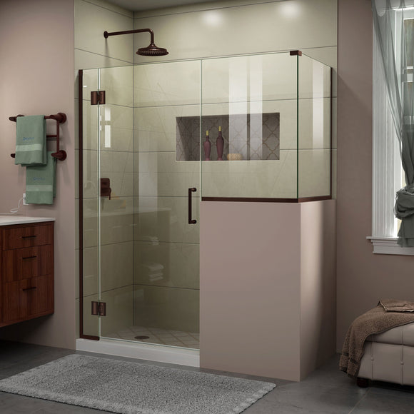 "DreamLine E129243430-06 Unidoor-X 59""W x 30 3/8""D x 72""H Frameless Hinged Shower Enclosure in Oil Rubbed Bronze"