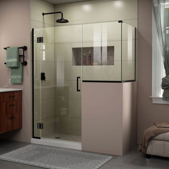 "DreamLine E127243430-09 Unidoor-X 57""W x 30 3/8""D x 72""H Frameless Hinged Shower Enclosure in Satin Black"