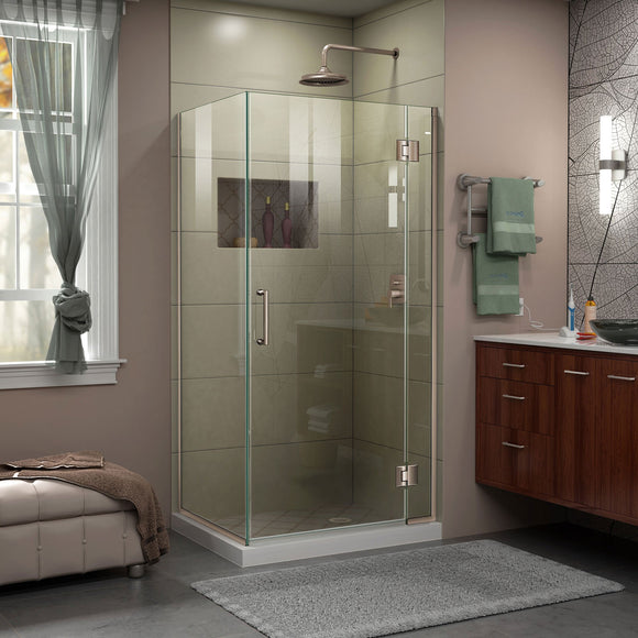 "DreamLine E12834-04 Unidoor-X 34 3/8 W x 34""D x 72""H Frameless Hinged Shower Enclosure in Brushed Nickel"