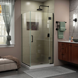 "DreamLine E12434-09 Unidoor-X 30 3/8""W x 34""D x 72""H Frameless Hinged Shower Enclosure in Satin Black"