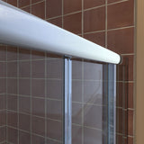"DreamLine DL-6114C-01CL Visions 34""D x 60""W x 76 3/4""H Sliding Shower Door in Chrome with Center Drain White Base, Backwalls"