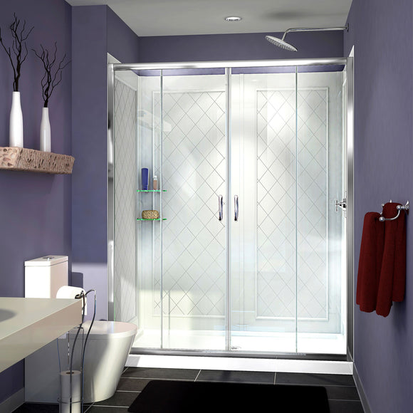 "DreamLine DL-6113C-01CL Visions 32""D x 60""W x 76 3/4""H Sliding Shower Door in Chrome with Center Drain White Base, Backwalls"