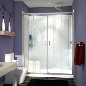 "DreamLine DL-6114C-04CL Visions 34""D x 60""W x 76 3/4""H Sliding Shower Door in Brushed Nickel with Center Drain White Base, Backwalls"