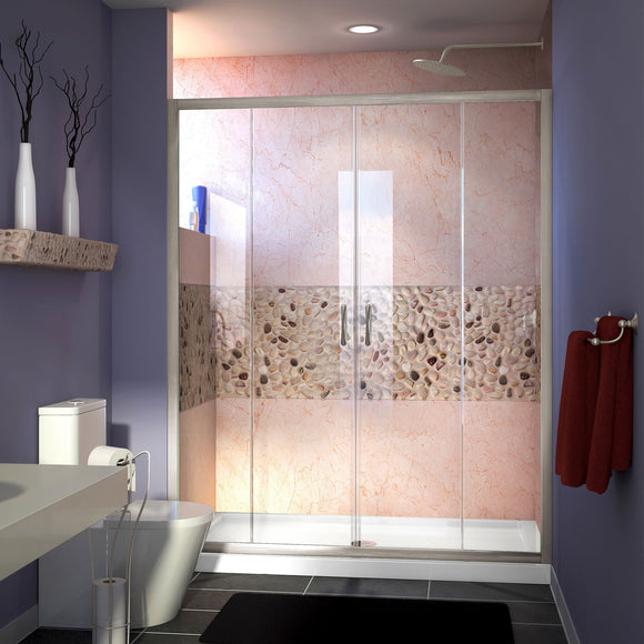 "DreamLine DL-6960C-04CL Visions 30""D x 60""W x 74 3/4""H Sliding Shower Door in Brushed Nickel with Center Drain White Shower Base"