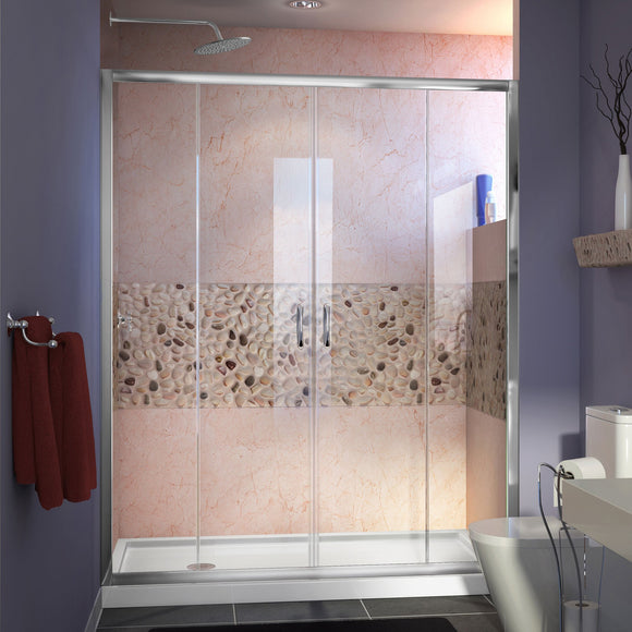 "DreamLine DL-6962L-01CL Visions 34""D x 60""W x 74 3/4""H Sliding Shower Door in Chrome with Left Drain White Shower Base"