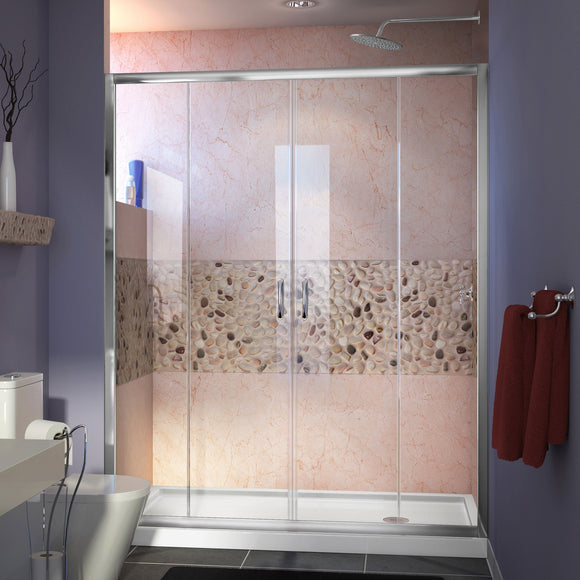 "DreamLine DL-6963R-01CL Visions 36""D x 60""W x 74 3/4""H Sliding Shower Door in Chrome with Right Drain White Shower Base"