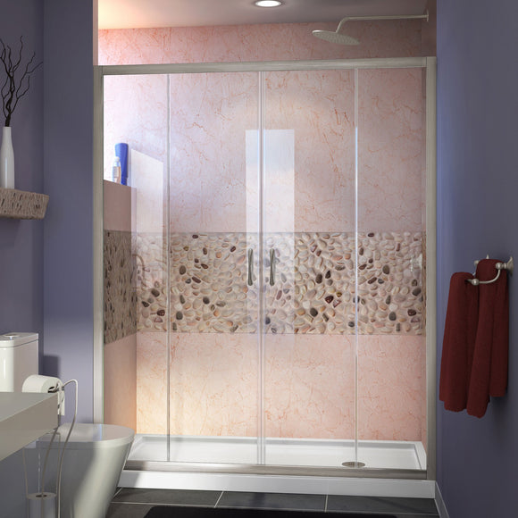 "DreamLine DL-6960R-04CL Visions 30""D x 60""W x 74 3/4""H Sliding Shower Door in Brushed Nickel with Right Drain White Shower Base"