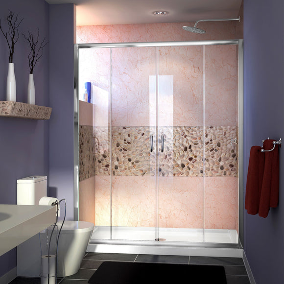"DreamLine DL-6961C-01CL Visions 32""D x 60""W x 74 3/4""H Sliding Shower Door in Chrome with Center Drain White Shower Base"