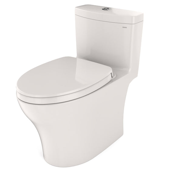 TOTO Aquia IV One-Piece Elongated Dual Flush 1.28 and 0.8 GPF Universal Height, WASHLET+ Ready Toilet with CeFiONtect, Colonial White