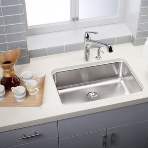 "Elkay ELUH2416PD Lustertone 26.5"" Single Bowl 18-Gauge Undermount Kitchen Sink"