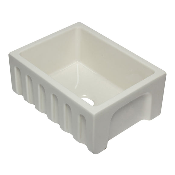 ALFI AB2418HS-B 24 inch Biscuit Smooth / Fluted Single Bowl Fireclay Farm Sink