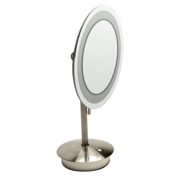 "ALFI Brand ABM9FLED-BN Brushed Nickel Tabletop Round 9"" 5x Magnifying Cosmetic Mirror with Light"