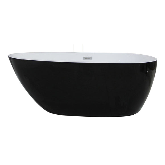 ALFI AB8862 59 inch Black and White Oval Acrylic Free Standing Soaking Bathtub