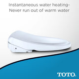 TOTO WASHLET S500E Bidet Toilet Seat with eWater+ & Classic Lid, Cotton White, SKU: SW3044#01