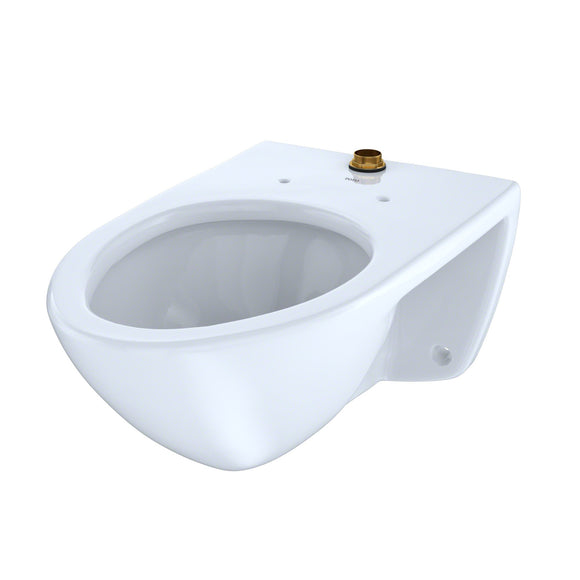 TOTO 1.0 GPF Wall-Mounted Flushometer Toilet Bowl with Top Spud, Cotton White, SKU: CT708U#01
