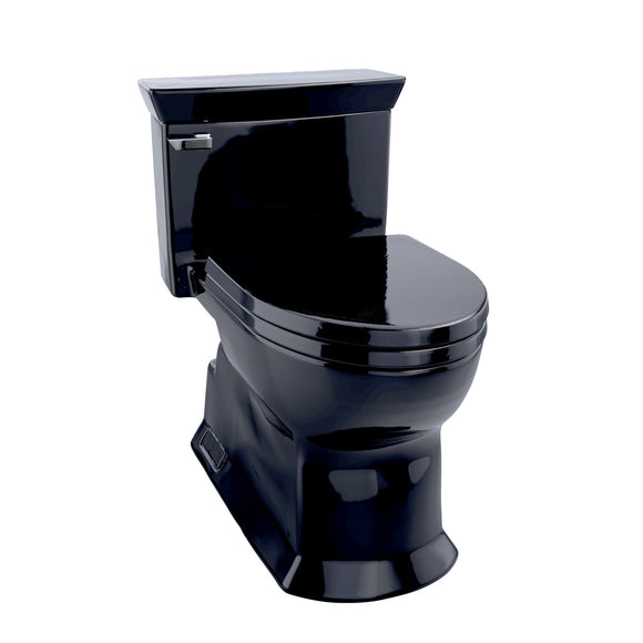TOTO Eco Soiree One-Piece Elongated 1.28 GPF Universal Height Skirted Toilet, Ebony Black